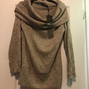 Beige cowl neck sweater, new with tags.